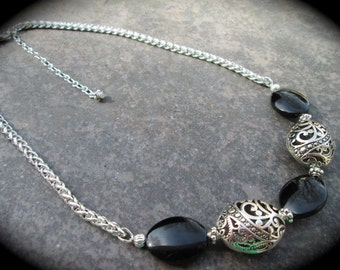 "Black Filigree necklace with oval silver filigree beads and foxtail chain 17 1/2"" with 3"" extender Black and Silver necklace"