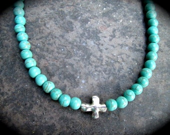 "Boho style Turquoise Sideways Cross necklace with toggle clasp 16"" Turquoise Toggle necklace"