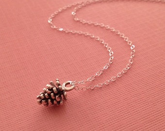 Small Pine Cone Necklace in Sterling Silver -Pine Cone Necklace in Silver