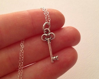 Tiny Key Necklace in Sterling Silver  -Small Key Necklace in Silver -Perfect Girlfriend / Wife Gift