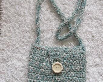 Aqua and cream crocheted cotton purse