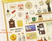 Cafe - Suatelier Stickers - Translucent Deco Sticker - 1 Sheet