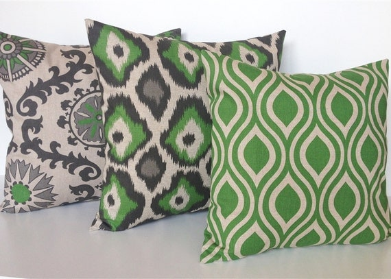 Organic Decorative Pillow Covers : Set of 3 Organic Green Throw Pillow Covers. by thebluebirdshop