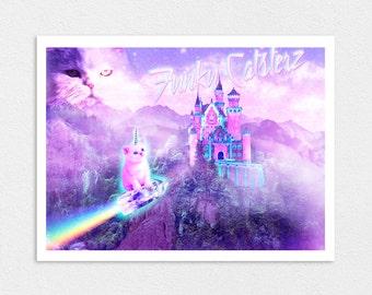 The White Crystal - Cat Unicorn 8x10 Print Space Cats Rainbow Crystal Pastel Galaxy Cosmos Castle Magic Purple