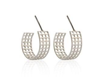 Geometric jewelry - Small hoop earring,Handmade Silver Geometric Stud Earrings,Grid Earrings , Sterling Silver Earrings , Hoop Post Earrings