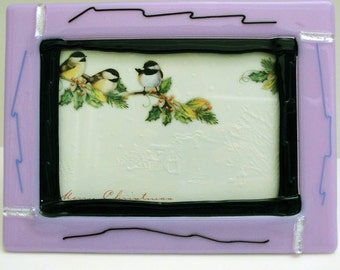 Fused Glass Picture Frame Light Purple Silver Dichroic Accents Black Home Decor Photo Frame