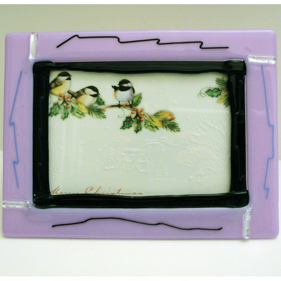 fused glass picture frame light purple and silver home decor