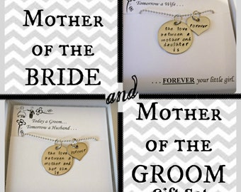 "SALE: Mother of the BRIDE and Mother of the GROOM gift set of necklaces ""The love between..."" Wedding Mothers gifts, wedding party gifts"