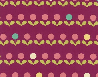 CLEARANCE - Purple, Aqua, and PInk Floral Fabric - Avant Garden by Momo from Moda - 1/2 Yard