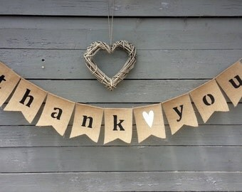 CLEARANCE SALE, Thank you burlap banner bunting, wedding garland, photography prop