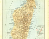 Vintage Map of Madagascar 1910s, Indian Ocean