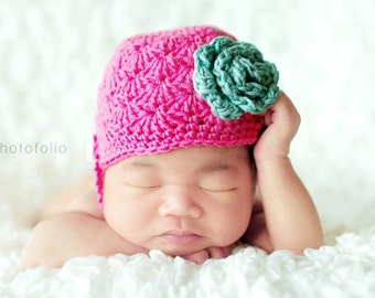 SALE PDF Crochet Pattern - newborn photography prop shell chin strap beanie #58