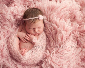 PDF Crochet Pattern - newborn photography prop dainty blossom mohair wrap and flower tie back_corsage set #91