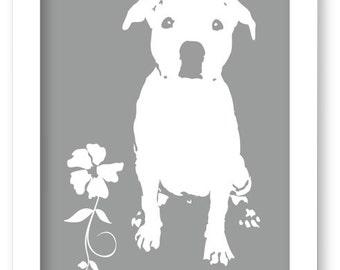 Modern Pitbull Dog Art Print, Pitbull Silhouette, Modern Wall Decor, Pitbull Gift