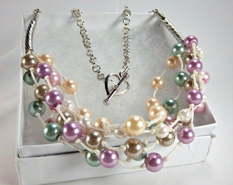 Pastel Pearl Necklace, Mothers Day, Six Strands, Knotted Off White Cord, Summer Look, Silver Heart Toggle