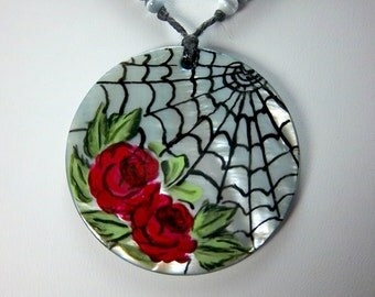 Spider Web Necklace, Red Rose Necklace, Hand-Painted, Gothic Look, Black Slip Shell Focal, Hemotite
