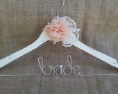 Wedding dress hanger with lace flower, name hanger, personalized hanger, bridal dress hanger, vintage, shabby chic, rustic, country