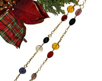 Christmas  Colorful Holiday Necklace One of a Kind Original Design
