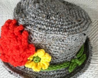 Crochet Baby Hat, Child Hat, Child Hat with Flower, Baby GirlHat, Little Girl Hat, Newborn Hat, Gray Hat, Little LadyHat