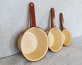 Beige Enamel Pot Collection Mid Century Housewares Farmhouse Chic Camping Pots and Pans