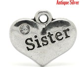 "4 pcs 16mm Antique Silver Rhinestone ""Sister"" Heart Charm Pendants"