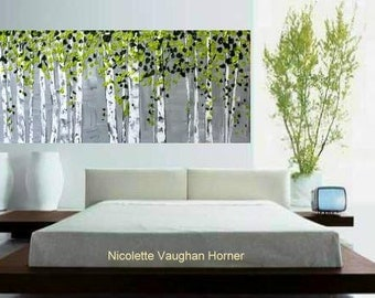 """XLarge Abstract painting,Original comtemporary Art,Silver Birches Ready to hang  by Nicolette Vaughan Horner 60"""""""