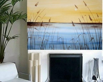 ORIGINAL Abstract oil 3ft by 2ft  Contemporary modern fine  art  abstract  Florida Over Golden  Marsh  painting  by Nicolette Vaughan Horner