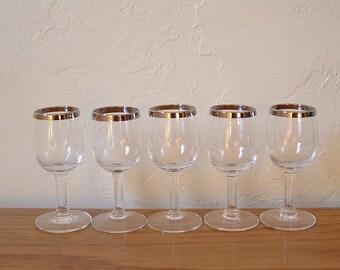 Vintage Silver Rim Glasses Silver Band Set of 5 Cordial Shot Glasses Mad Men