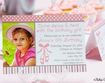 Ballerina Photo Birthday Invitation.... Custom, Printable, Digital