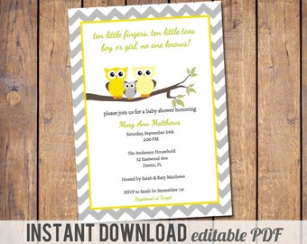 Instant download, editable PDF, owl baby shower invitations, gender neutral baby shower invitation, modern baby shower invite, chevron