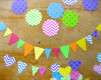 Neon Hearts, Hexagons & Pennants Confetti-Solid Color Punches-Lot of 40-Baby Shower-Birthday Party-Summer-Geometric Banner-Cake Topper-Tags