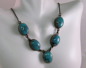 Vintage Southwest Turquoise and Sterling Necklace, 16 Inch