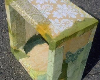 Small Pale Yellow and Green Box Shelf