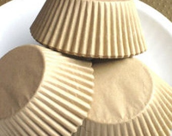 100 Unbleached STANDARD SIZE Cupcake Muffin Liners Baking Cups NATURAL Wrappers (Free Shipping!)