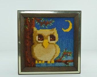 Vintage Owl Needlepoint Framed Art