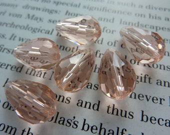 6 glass beads, 15x10mm, light salmon pink, pear, drop