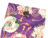 Padded Galaxy Tab Case, Handmade In Canada,Tablet Sleeve, Cranes Purple