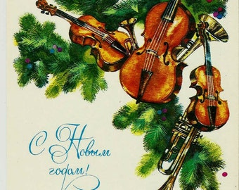 Musical Instruments, New Year, Russian Vintage Postcard print 1984