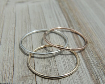 14k Solid Gold Ring - Simple Thin Real Gold Ring - 14k Rose Gold Ring - 14k White Gold Wedding Ring -14k Solid Gold Ring - Gold Ring -