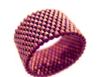 Red Ring, Metallic Red Ring, Oxblood Ring Band, Dreadlock Bead, Metallic Oxblood, Red Rust, Beaded Ring Band