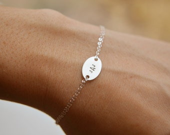 Stamped Silver Monogram Initial Bracelet - Sterling Silver Oval Pendant Hand Stamped Disc Bracelet Simple Dainty Everyday