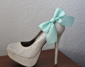 Mint Green Ribbon Bow Shoe Clips - 1 Pair