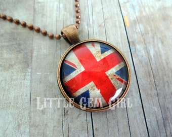 Vintage Union Jack Necklace Pendant British Flag Union Jack Jewelry - Union Jack Flag Necklace or Keychain - UK Flag Antique Copper Pendant
