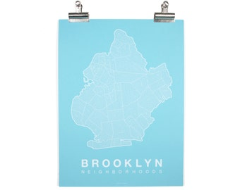 Brooklyn Neighborhood Map - White on Teal