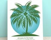 Wedding Guest Book Alternative - Wedding Wish Palm Tree - Peachwik Interactive Art- 75 guests -Palmwik -Wedding Gallery Wrapped Canvas