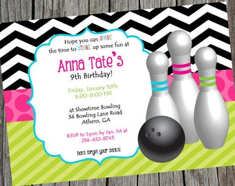 Girly Girl Bowling Birthday Party Invitation. Bright and Colorful bowling party invite. Printable Party Invitation Birthday Invite