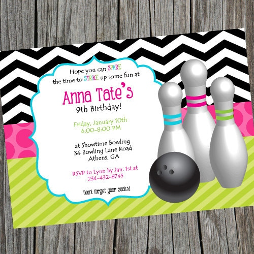 Girly Girl Bowling Birthday Party Invitation Bright and – Printable Bowling Party Invitations