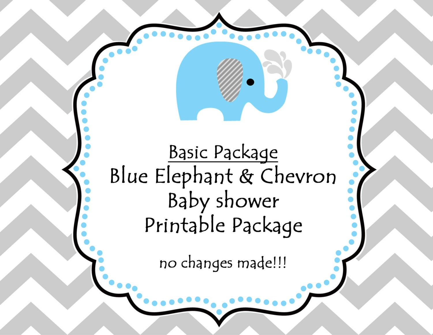INSTANT DOWNLOAD.Printable Blue Elephant Baby Shower Party
