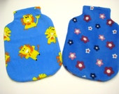 Polar Fleece Hot Water Bottle Cover - Blue Flower Print or Blue with Lions, Cozy Cover