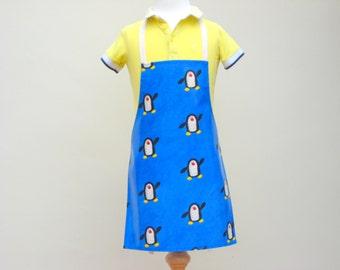 Child Pvc Apron - Penguins on a Blue Background, Oilcloth Apron, Waterproof Apron